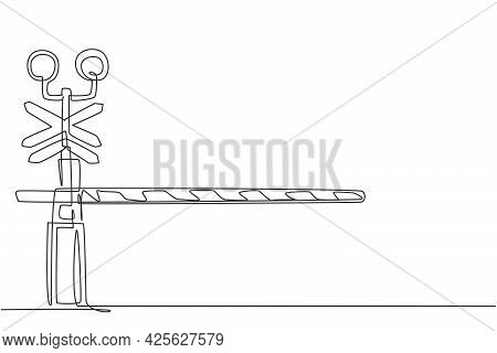Continuous One Line Drawing A Railway Barrier With Stripes, Signs, And Warning Lights Closes Railroa