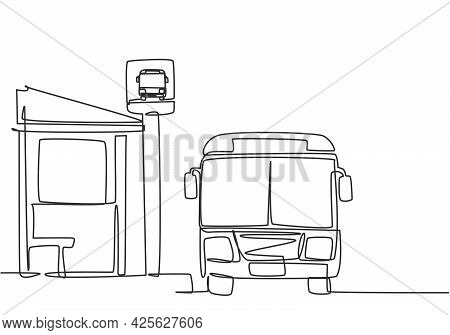 Single One Line Drawing Of Bus Stop With Shelter, Simple Bus Sign And A Bus Waiting For Passengers T