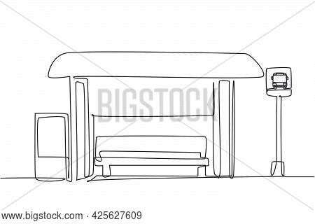 Single One Line Drawing Of Bus Stops With Shelter, Simple Bus Signs And Trash Cans Located On The Si