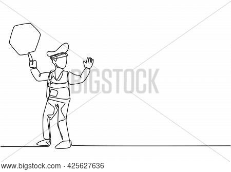 Continuous One Line Drawing Policeman In Full Uniform And Lifting Traffic Signs Are Controlling The