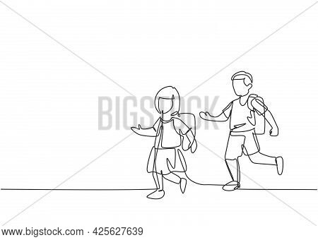 Single Continuous Line Drawing Elementary School Students Both Boys And Girls Were Running On The Si