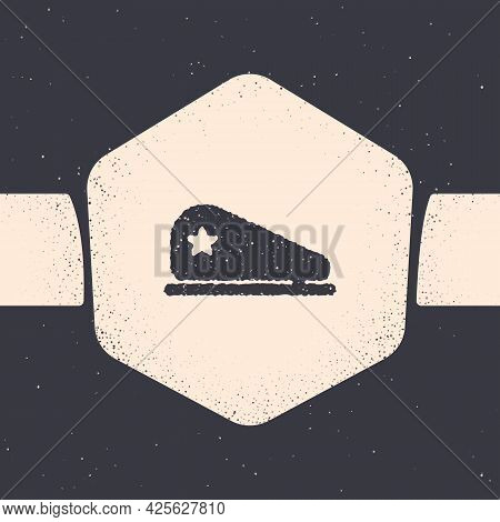 Grunge Military Beret Icon Isolated On Grey Background. Soldiers Cap. Army Hat. War Baret. Monochrom