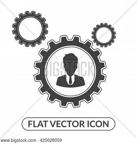 Human Settings Icon, User Settings Gear Symbol, Account Settings Icon. Flat Style Vector Illustratio