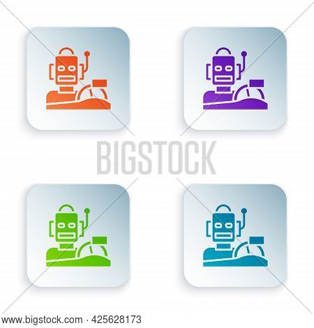 Color Robot Humanoid Driving A Car Icon Isolated On White Background. Artificial Intelligence, Machi