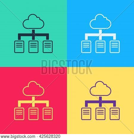 Pop Art Online Working Icon Isolated On Color Background. Freelancer Man Working On Laptop At His Ho
