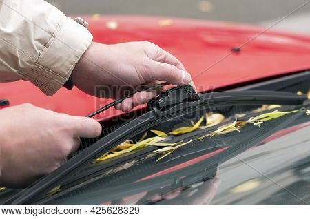 Man Installs A New Wiper Blade Without A Trademark On The Windshield Of A Car With Fallen Autumn Lea