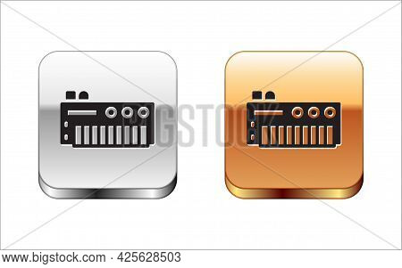 Black Music Synthesizer Icon Isolated On White Background. Electronic Piano. Silver And Gold Square