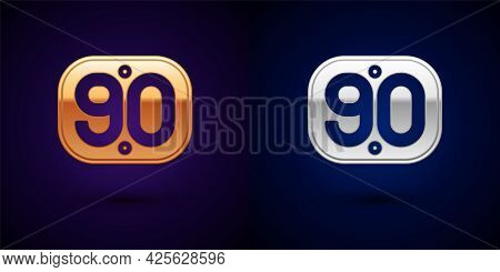 Gold And Silver 90s Retro Icon Isolated On Black Background. Nineties Poster. Vector