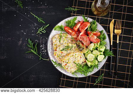 Trendy Salad. Chicken Meatloaf With Salad Fresh Tomatoes And Cucumber. Healthy Food, Ketogenic Diet,