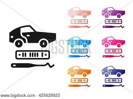 Black Car Theft Icon Isolated On White Background. Set Icons Colorful. Vector