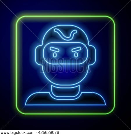 Glowing Neon Thief Mask Icon Isolated On Blue Background. Bandit Mask, Criminal Man. Vector
