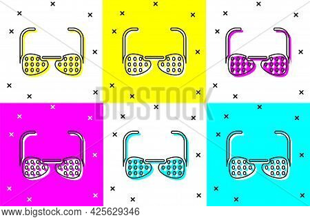 Set Glasses For The Blind And Visually Impaired Icon Isolated On Color Background. Vector