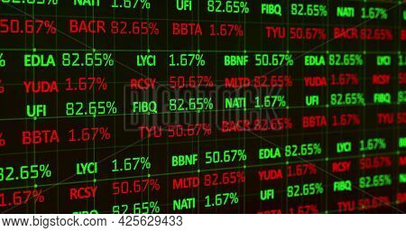 Image of red and green stock market data rolling and processing over a grid. Global economy stock market concept digital composition