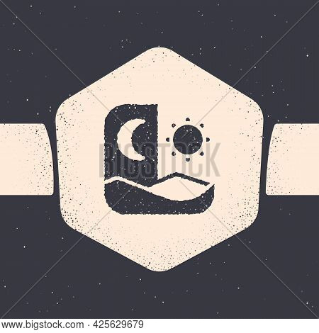 Grunge Ramadan Fasting Icon Isolated On Grey Background. Fast Day And Night. Religious Fasting. Mono