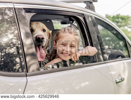 Preteen girl with golden retriever dog sitting in the car and looking from the window open and smiling. Child kid with purebred doggy pet in the vehicle outdoors
