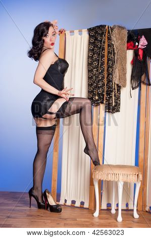 Retro Model Adjusts Stocking Tops