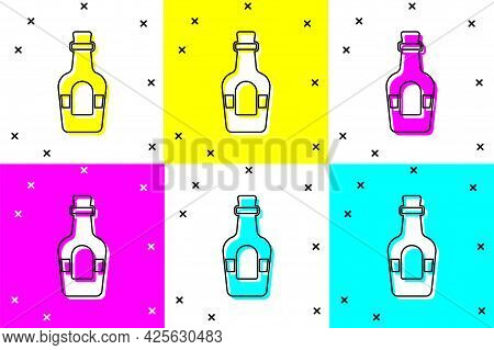 Set Alcohol Drink Rum Bottle Icon Isolated On Color Background. Vector