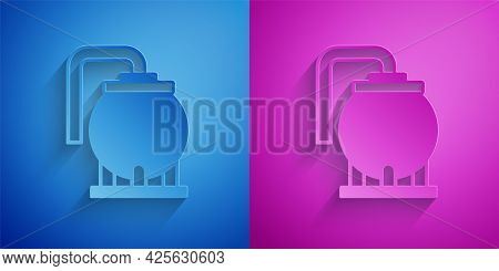 Paper Cut Oil Tank Storage Icon Isolated On Blue And Purple Background. Vessel Tank For Oil And Gas