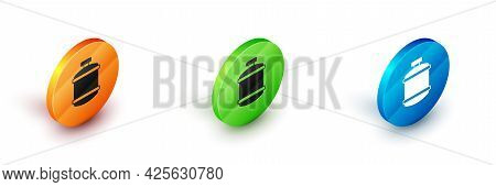 Isometric Propane Gas Tank Icon Isolated On White Background. Flammable Gas Tank Icon. Circle Button