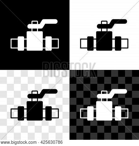 Set Industry Metallic Pipes And Valve Icon Isolated On Black And White, Transparent Background. Vect