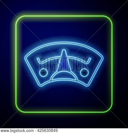 Glowing Neon Motor Gas Gauge Icon Isolated On Blue Background. Empty Fuel Meter. Full Tank Indicatio