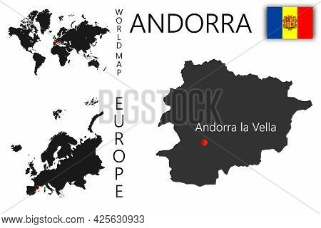 Realistic Vector Map Of Andorra With Flag. The Location Of The Country On The Map Of The World And E