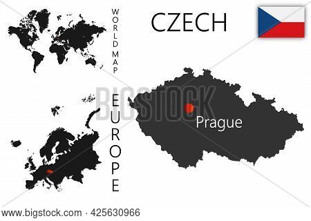 Realistic Vector Map Of Czech With Flag. The Location Of The Country On The Map Of The World And Eur