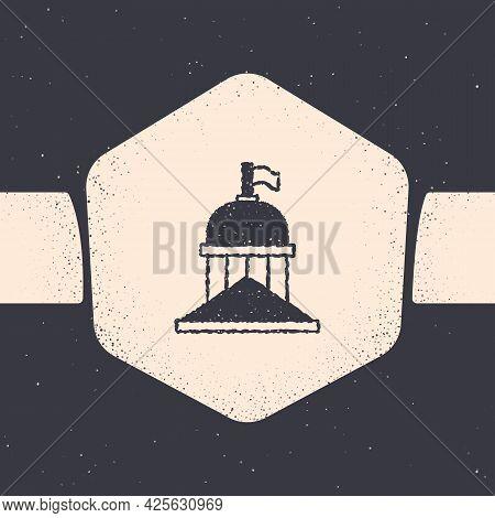 Grunge White House Icon Isolated On Grey Background. Washington Dc. Monochrome Vintage Drawing. Vect