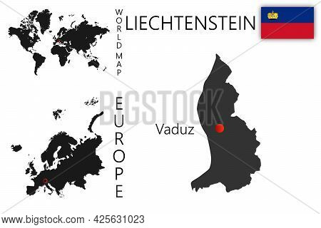 Vector Map Of Liechtenstein With Flag. The Location Of The Country On The Map Of The World And Europ