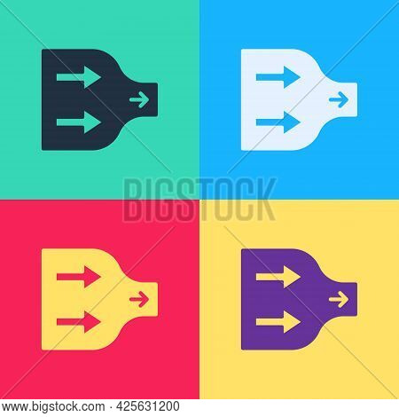 Pop Art Arrow Icon Isolated On Color Background. Direction Arrowhead Symbol. Navigation Pointer Sign