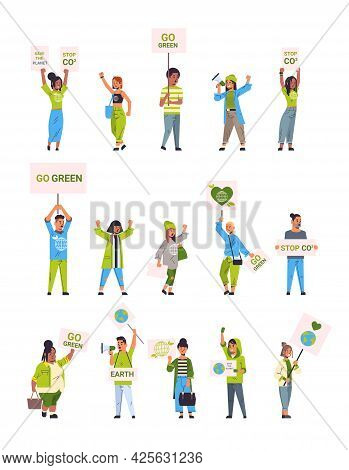 Set Environmental Activists Holding Posters Go Green Save Planet Strike Concept Mix Race Protesters