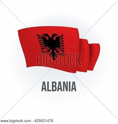 Vector Flag Of Albania. Albanian Waving Flag. Vector Illustration.