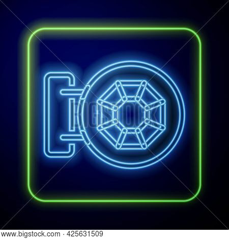 Glowing Neon Front Facade Building Jewelry Store Icon Isolated On Blue Background. Vector