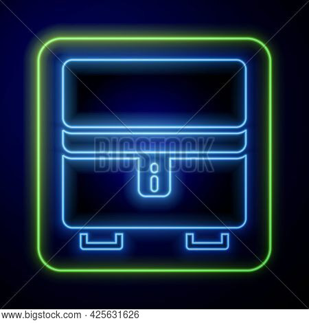 Glowing Neon Jewelry Box Icon Isolated On Blue Background. Casket With Jewelry. Vector