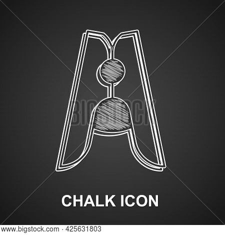 Chalk Old Wood Clothes Pin Icon Isolated On Black Background. Clothes Peg. Vector
