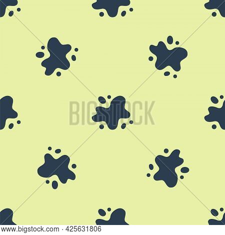 Blue Water Spill Icon Isolated Seamless Pattern On Yellow Background. Vector