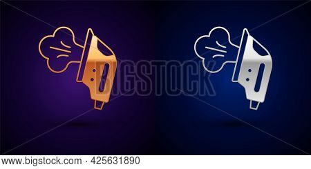 Gold And Silver Electric Iron Icon Isolated On Black Background. Steam Iron. Vector