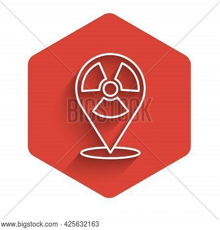 White Line Radioactive In Location Icon Isolated With Long Shadow. Radioactive Toxic Symbol. Radiati