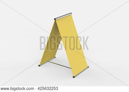 Blank Banner Stand Isolated On White Background. Include Clipping Paths Around Stand And Ad Banner.