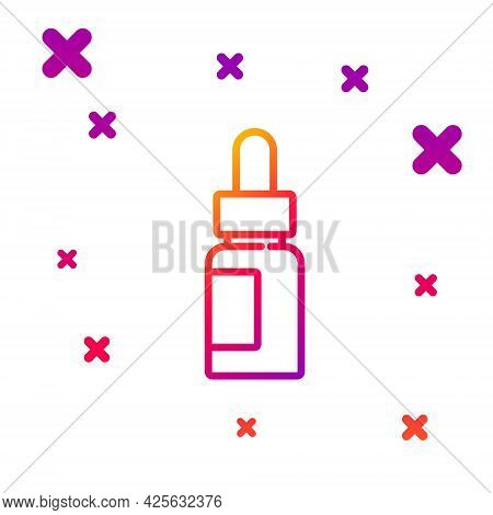 Color Line Essential Oil Bottle Icon Isolated On White Background. Organic Aromatherapy Essence. Ski