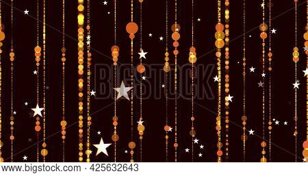 Image of golden glowing stars and spots of light moving in hypnotic motion with light trails on brown background. Light and movement concept digitally generated image.