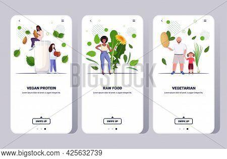 Set People Drinking Plant Based Milk Holding Potato Onion And Dandelion Flower Vegan Protein Raw Foo