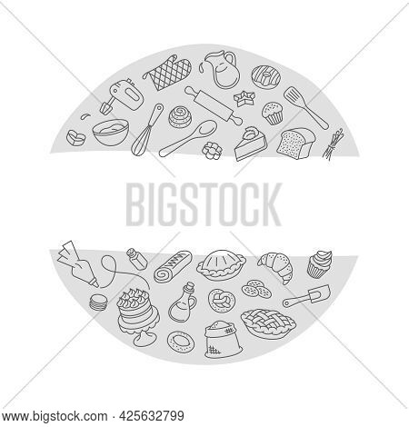 Bakery Products And Baking Tools Linear Label. Round Sticker. Thin Line Icons Of Baked Goods And Coo