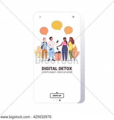 People Throwing Away Gadgets In Urn Digital Detox Concept Friends Abandoning Internet And Social Net