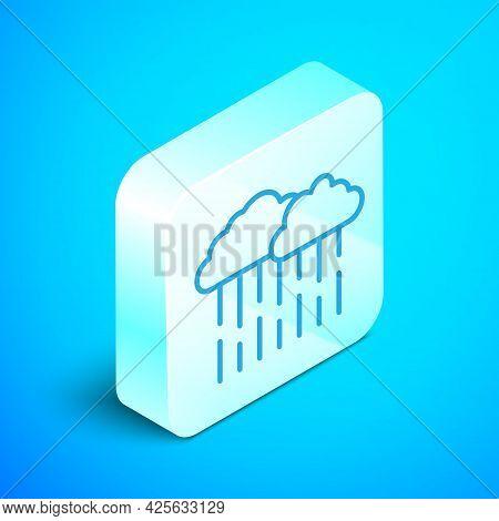 Isometric Line Cloud With Rain Icon Isolated On Blue Background. Rain Cloud Precipitation With Rain