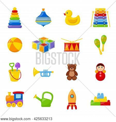 Set Of Kid Toys On White Background, Vector Illustration