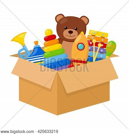 Kid Toys In A Box, Vector Illustration