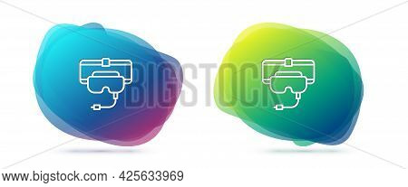 Set Line Virtual Reality Glasses Icon Isolated On White Background. Stereoscopic 3d Vr Mask. Abstrac
