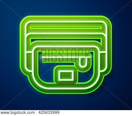 Glowing Neon Line Waist Bag Of Banana Icon Isolated On Blue Background. Vector