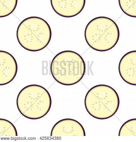 Vector Eggplant Seamless Pattern In Cartoon Style, Aubergine Vegetables Isolated On White, Healthy O